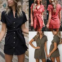 Womens Holiday Casual Short Sleeve Skirt Summer Bodycon Beach Party Mini Dress