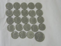 Lot of 24 Elizabeth II Coins 23 Canadian 10 cent and 1 Bahama Island 25 cent