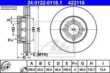 2x Bremsscheibe für Bremsanlage Vorderachse ATE 24.0122-0118.1