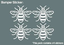 Manchester Bee x4 Bumper Car ipad Stickers (WHITE) - HIGH QUALITY VINYL DECAL