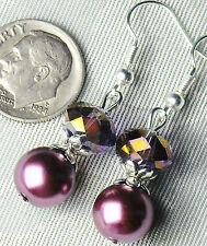 "Purple Pearl & Aurora Borealis Crystal Pierced Earrings 1.6"" Long FREE SHIP"