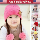 Infant Baby Toddler Girl Pom Braid Ears Beanie Hat - winter warm knit cover cap