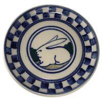 Debbie Dean Rabbit Salt Glazed Pottery Plate Dish Round Checkerboard