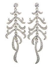 Swarovski Elements Crystal Leaf Feather Pierced Earrings Rhodium Authentic 7134y