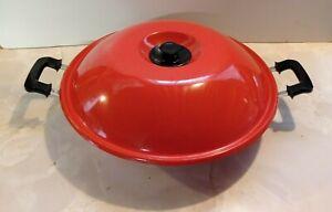 Large vintage enamel on metal wok with lid