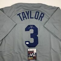 Autographed/Signed CHRIS TAYLOR Los Angeles LA Grey Baseball Jersey JSA COA Auto