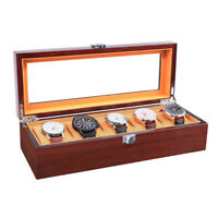Wood Watch Box 5 Slot Storage Case Jewelry Watch Organizer Glass Display Box