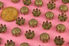 Bead Cap - 6 Pc(s) Vint Design Ant Brass Floral