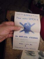 Dépliant Publicitaire Anti-vol Essence Astre pour Simca 6