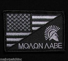 MOLON LABE SPARTAN USA AMERICAN FLAG ARMY DARK OPS VELCRO® BRAND FASTENER PATCH