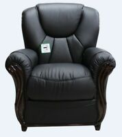 Lucca Armchair 1 Seater Black Italian Leather Sofa Settee