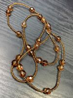 """Bohemian Necklace Root Beer Brown  Extra Long Glass Seed Beads 38"""" Inches"""