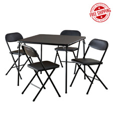 5-Piece Folding Dining Set, Kitchen Card Game Party Sturdy Table Foam Pad Chairs
