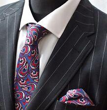 Tie Neck tie with Handkerchief Blue Red Black & Silver