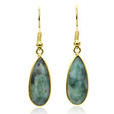 Enchanting Emerald Teardrops on Gold-Plated Over Brass Dangle Earrings