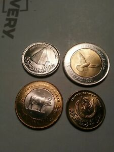 SUDAN 4 COIN SET, 2006 UNCIRCULATED 5 TO 50 PIASTRES (2 BIMETAL)