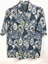 Men's Tommy Bahama Shirt Size XL Light Blue Green White Button Up Short Sleeve