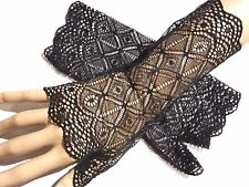 BLACK DIAMOND PATTERN LACE GLOVES fingerless wristlet arm warmers gothic EGL 6Y