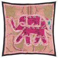 "Fair Trade Elephant Patchwork Cushion Cover Decor Vintage 16x16"" Boho Moroccan"