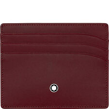 MONTBLANC PORTA CARTE DI CREDITO POCKET HOLDER 6cc 114558 pelle bordeaux rosso