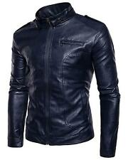 Men's Retro Full-Zip Stand Collar PU Faux Moto Leather Jacket - Navy / S