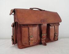 """16x12"""" Vintage Leather Office Briefcase Laptop Satchel Messenger Shoulder Bag"""