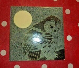 Vintage H&R Johnson OWL Hand Painted Tile