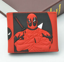 Marvel Role Deadpool RED Leather Bifold Wallet cosplay relief student Purse