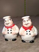 "Vintage Retro Robust Italian Happy Chef Ceramic Salt & Pepper Shaker Set 2.5"""