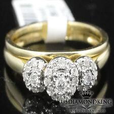 Ladies 10k Yellow Gold Past Present Future Bridal Engagement Ring Wedding Band