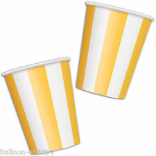 6 YELLOW White Stripes Style Party 12oz Disposable Paper Cups