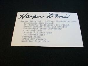 Green Bay Packers Bears Mississippi State Harper Davis Signed 3x5 Index Card  M7