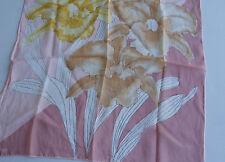 Vera Neumann 100% Silk Womens Hand Rolled Neck Scarf Iris Peach Brown Gold
