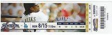 Brewers TRIPLE PLAY 8/15/2011 Unused Season Ticket Stub