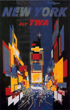 "Vintage TWA ""New York"" Travel Poster 11 by 17 glossy"