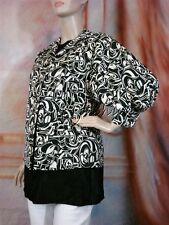 $798 New RALPH LAUREN Puff Sleeve Black White Art Print Polyester Jacket 10