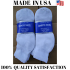 Creswell Top Quality 6 Pairs Made In USA Diabetic Socks White Ankle 13-15 Size