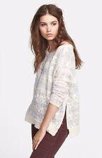 $149 Free People Alpaca Wool Flower Fields Pullover Zipper Sweater XS NEW F441