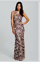Tadashi Shoji Sequin Lace Mermaid Gown Sz8 Black/Gold Formal Black-Tie Glam $507