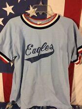 Vtg 70s Russell Red White Blue Ringer USA Eagles Medium Rare Jersey Shirt