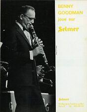 """""""Benny GOODMAN joue sur SELMER"""" Annonce originale entoilée 1973"""