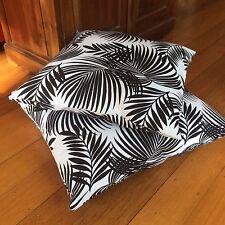 Last One! Quality Hand Made,Black & White Fern Design 48cm x 48cm Cushion Cover