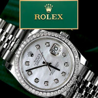 Datejust Women's Rolex 31mm White MOP Mother of Pearl Dial Diamond Bezel Watch