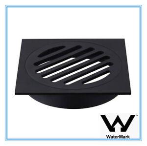 SQUARE BLACK BRASS FLOOR GRATE DRAIN WASTE 100MM 360G SHOWER BATHROOM LAUNDRY