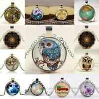 Retro Charm Owl Cabochon Tibetan Silver Round Glass Pendant Chain Necklace Gift