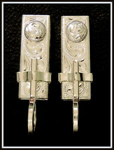"""2 - 5/8"""" Silver Hand Engraved Bit Hangers for Headstall / Bridle with conchos"""