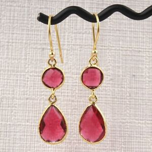 Sale ! Double Stone Hydro Quartz Gold Plated Drop Dangle Handmade Bezel Earrings