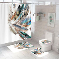 Feather Bathroom Rug Set Shower Curtain Non Slip Toilet Seat Lid Cover Bath Mat