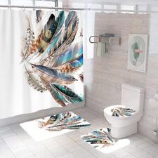 Feather Bathroom Rug Set Shower Curtain Non Slip Toilet Seat Lid Cover Bath Mat