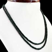 194.00 CTS NATURAL RICH GREEN EMERALD 2 STRAND ROUND FACETED BEADS NECKLACE